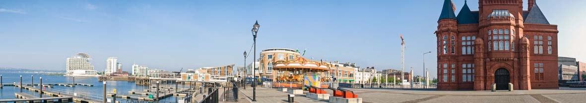 Cardiff bay development and pier head building.England